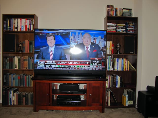 "57"" TV, HD cable & Netflix, Blu-ray, awesome theater sound, video & book library."