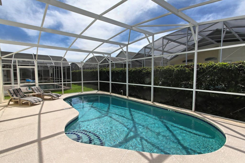 This pool is a family favorite for our guests. With a large pool and extended deck to sunbathe, plus a shaded lanai to eat or cool down under, the pool area is an Orlando attraction by itself!