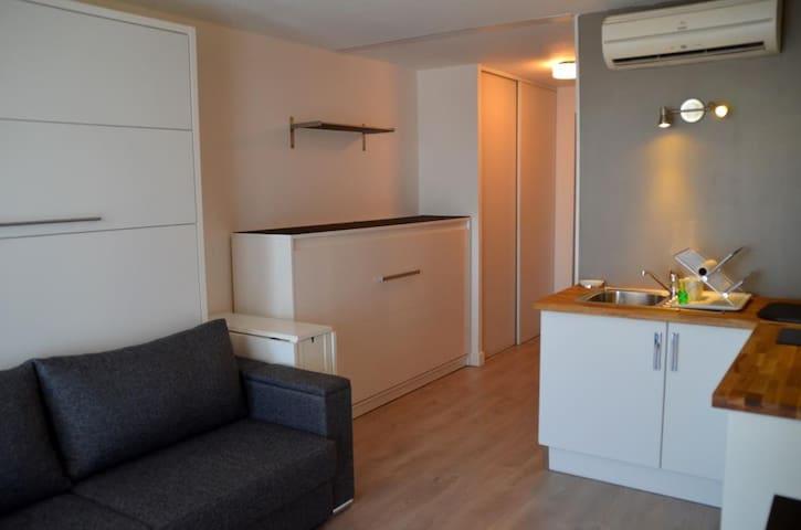 pièce principale avec lit canapé/armoire 160, lit Transversal en 90 et cuisine complète