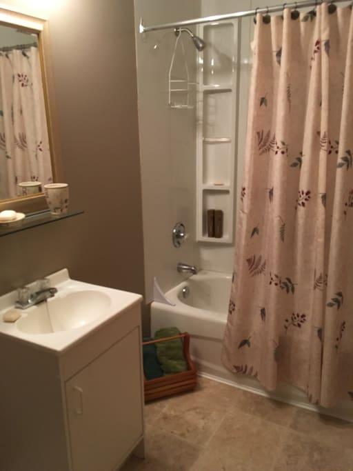 Full private bathroom, tub and shower.