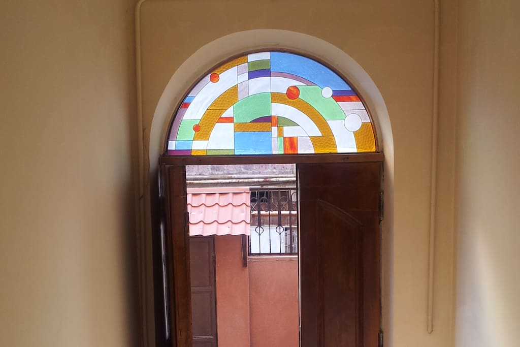 Beautiful stained glass on the top of front door