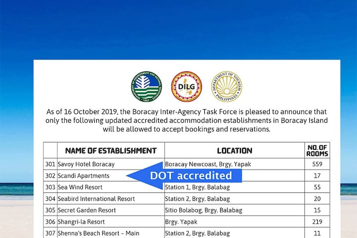 Scandi Apartments is DOT accredited which allows you to go to Boracay Island by showing our booking confirmation.