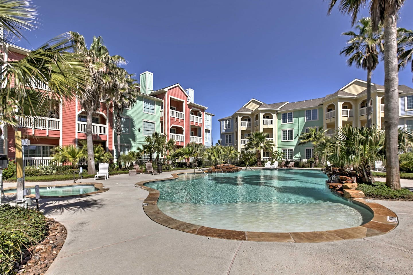 Enjoy access to great community amenities and easy access to the sandy shores while staying at 'Condo by the Sea,' a 3-bedroom vacation rental condo in Galveston!