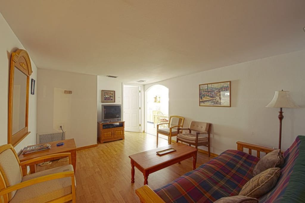 Wood floors, big open living room, TV and Satellite TV with a full sized futon.