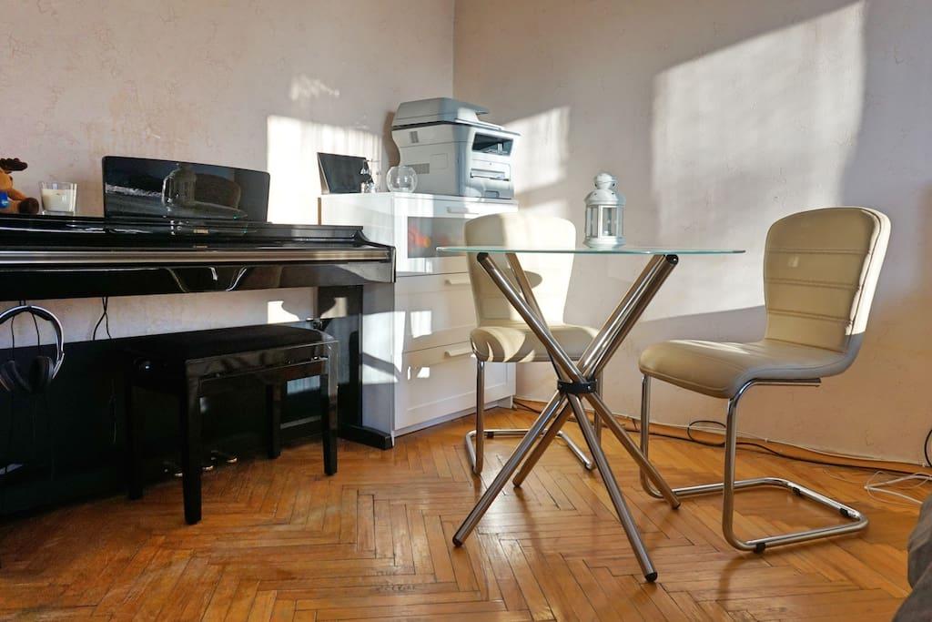 Piano & office area in Bedroom #1