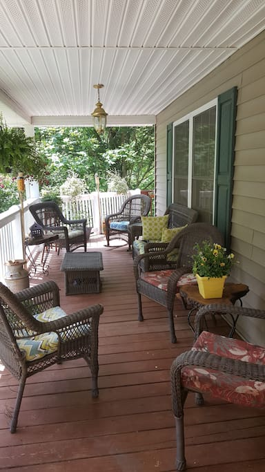 Enjoy your morning on the cozy covered porch while taking in the mountain view.