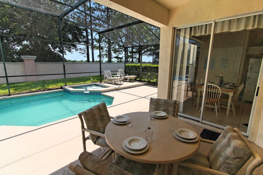 If the sun gets too hot for you - why not sit and relax in the shade of this cool lanai that's located just off the pool deck. It's the perfect place to sit and read or to listen to your favorite music.