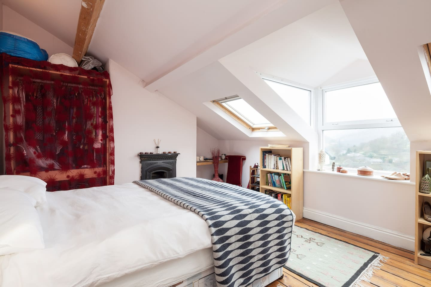 Attic bed with views over Calder Valley and Hebden Bridge