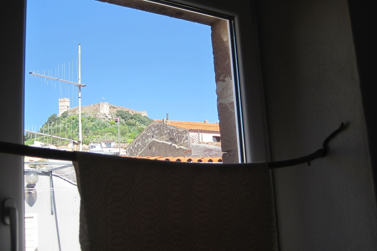 view of the castle from the bathroom