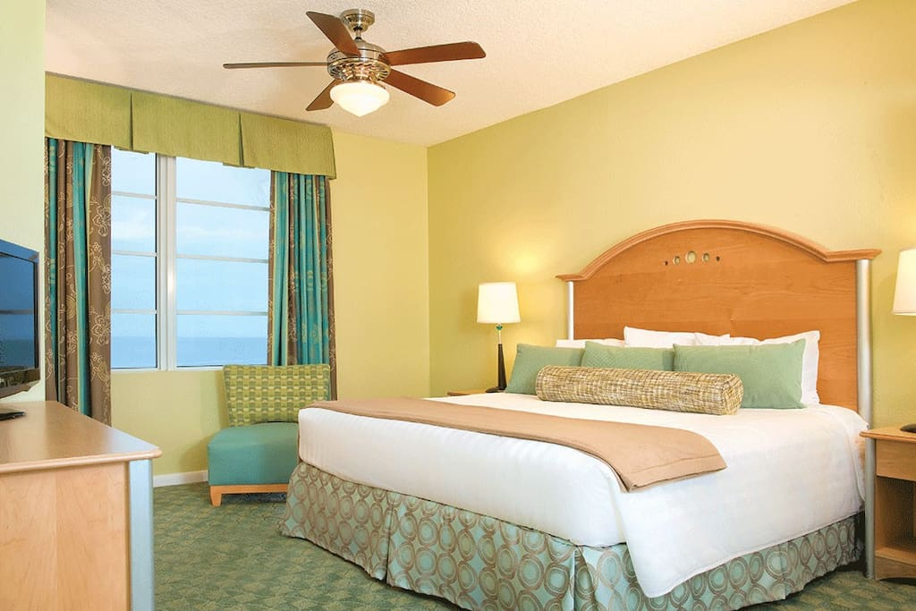 Master Bedroom at Wyndham Ocean Walk with King Size Bed. Please Note that layouts and decor vary.