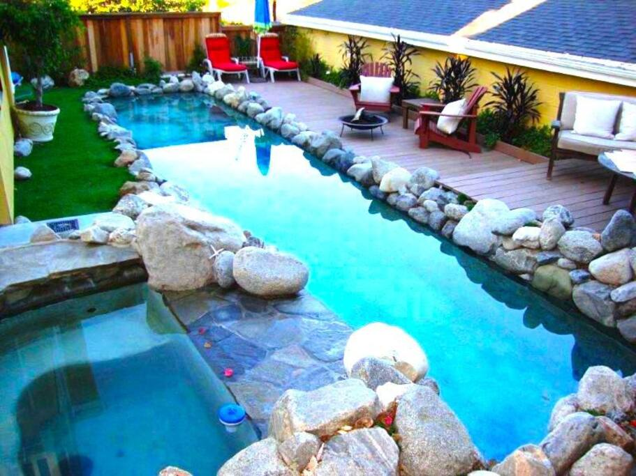 Relax in Sun via the Pool, Jacuzzi, Garden, Views, Loungers, Fire Pit, Chairs and Outdoor Couches