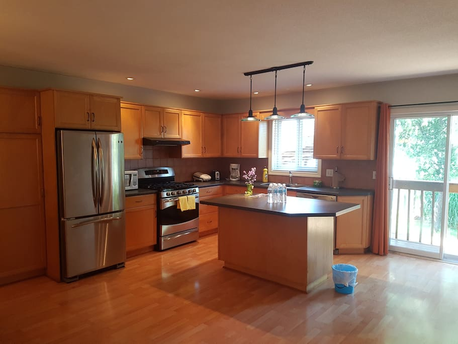 The Kitchen with a large fridge, gas oven, dishwasher, and central island