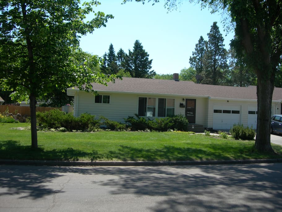 The duplex is located in a quiet, residential neighborhood.