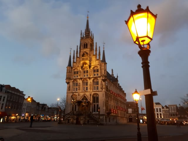 The famous City Hall at the Market square in winter time, 10 minutes walk