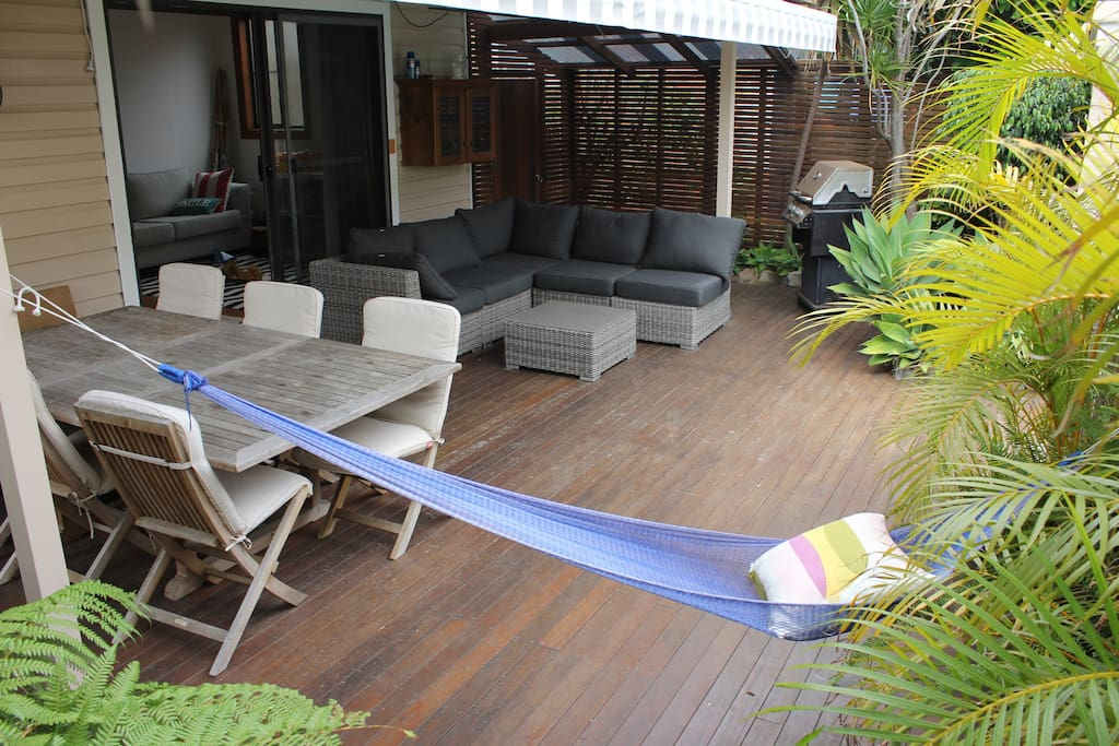 Back deck, with lounge, dining, hammock, bbq
