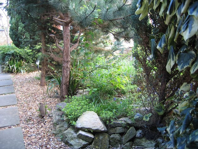 View of the garden and path leading to the entrance of the accommodation.