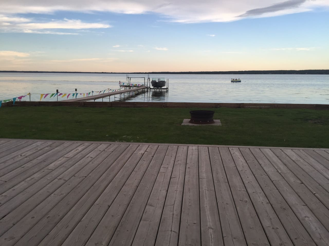 This photo shows a view from our deck overlooking the lake.
