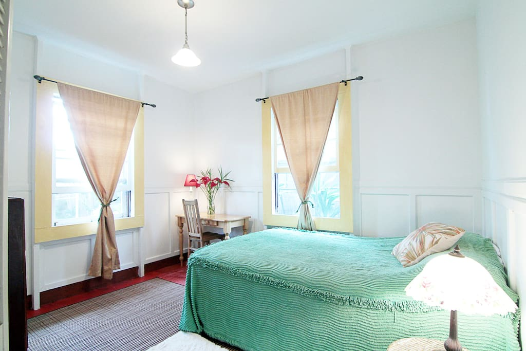 The Sweet Room in on the ground floor level and offers a Hotel sized double bed and views of the garden.