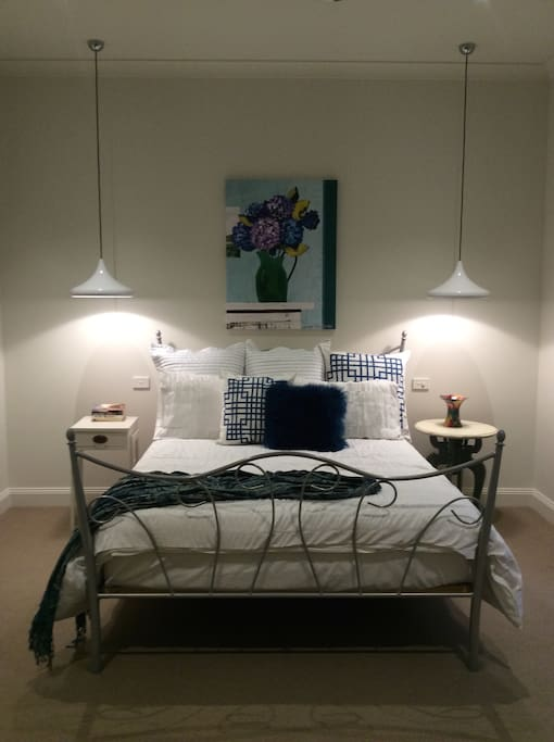 Comfy queen bed. Private bedroom, private sitting room and private bathroom.