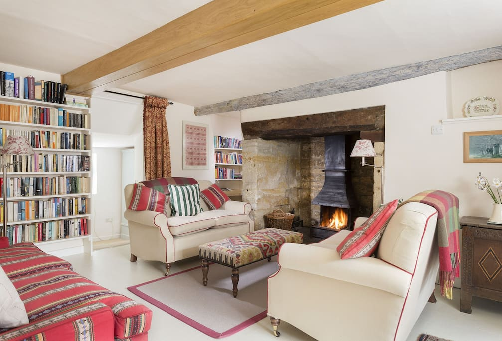 Ground floor: Sitting room with inglenook fireplace and wood burning stove