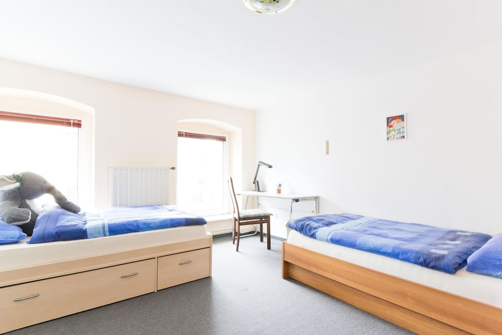 2 single beds with satellite TV