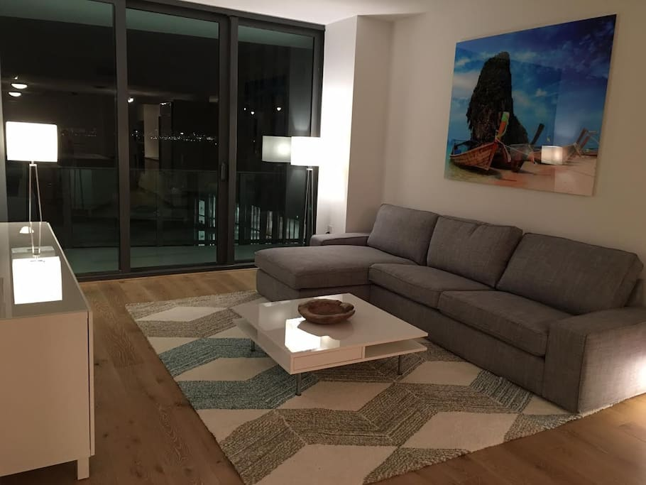 Living room with view of the water.