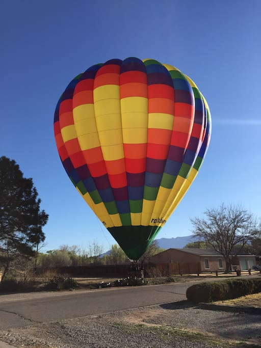 Our front yard.  Even though we are only 6.4 miles from Balloon Fiesta Park, sometimes they come to us!