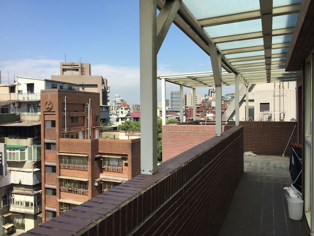 Big balcony with beautiful view in the quiet neighborhood