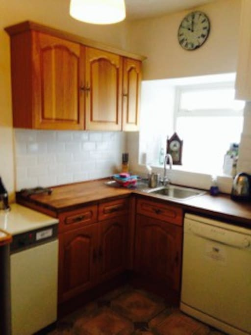 Kitchen with cooker, microwave, dishwasher