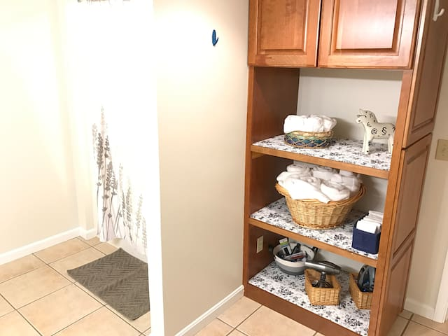 Full shower/bathtub insert plus your necessities such as a hair dryer and iron. All luxury hotel-quality cotton towels provided for you!