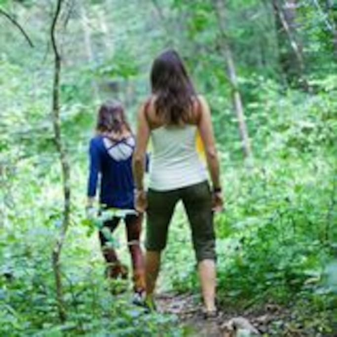 We have many beautiful hiking trails.  Including a trail that goes under quartz cliffs.