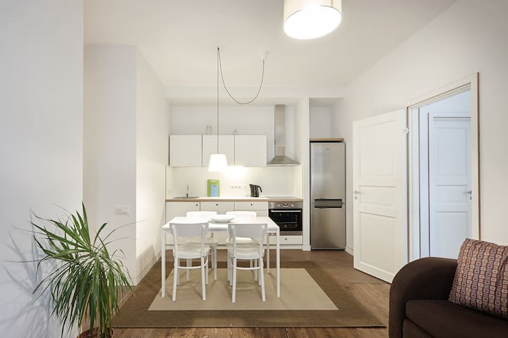 fully equipped kitchen in living room