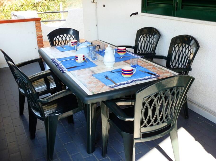 Tavolo in veranda perfetta per i vostri pasti immersi nell'uliveto