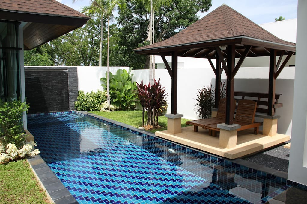 13 meter pool with spa and waterfall
