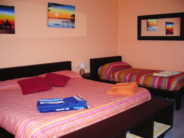 Ensuite bedroom among Mt Etna, Taormina, beaches