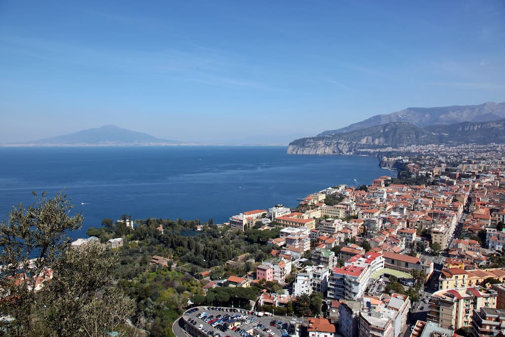 View on Mount Vesuvius, Gulf of Naples and Sorrento