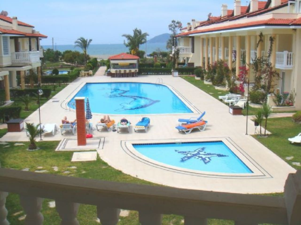 View from master bedroom balcony across the main pool to Fethiye Bay and Red Island
