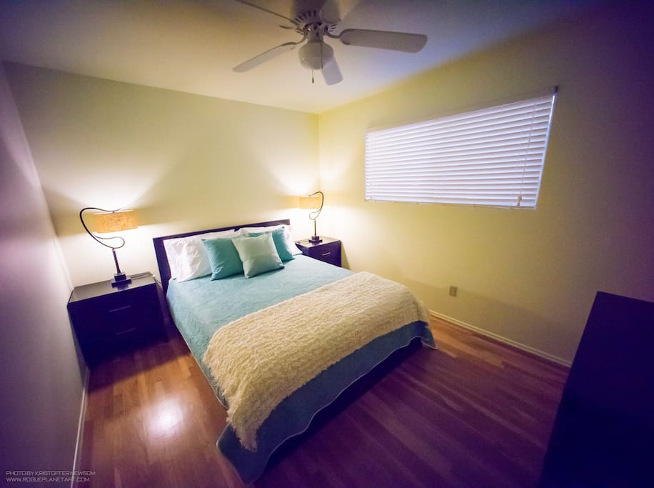 Bedroom with ample light for readers!