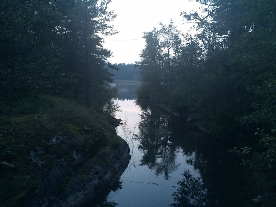 A small canal just by the cabin.