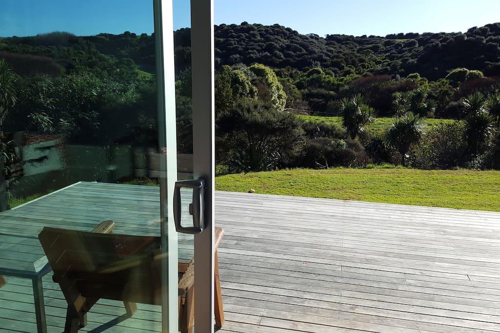 Front deck looking towards the Wainui Reserve and Nagrunui Beach access