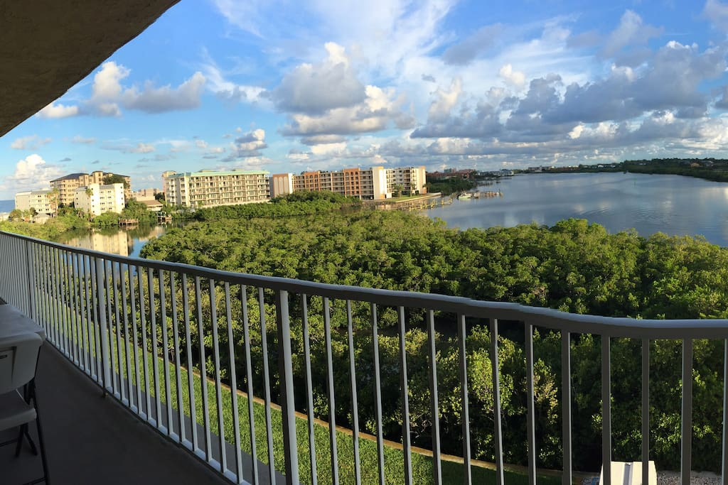 Private balcony (24 feet wide) has great water view.
