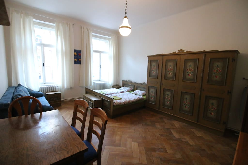living room , double bed , settee , can sleep 2- 4 pers