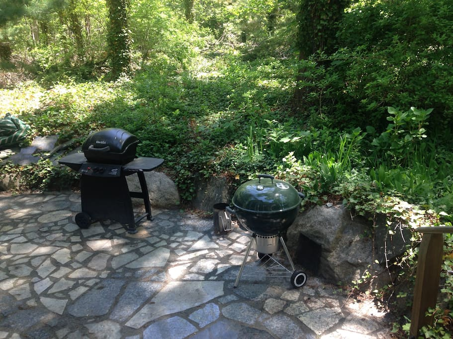 Charcoal and gas grills on the patio.