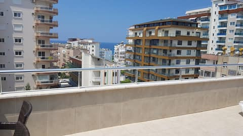 3+1 duplex with sea view,just 5 min to the beach