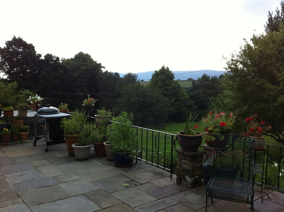 South view, from the patio. Hot tub available in winter; al fresco dining in summer.