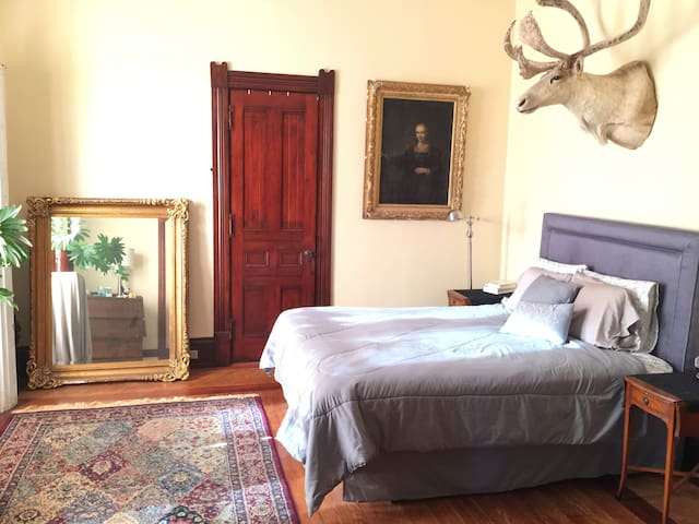 The bedroom features a Queen size bed, dresser, and closet