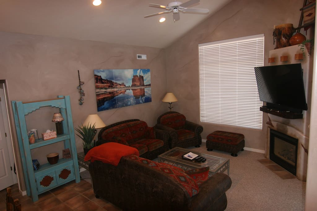 Living room-comfy new Southwest queen sofa sleeper- love seat-chair- ottoman- new custom paint