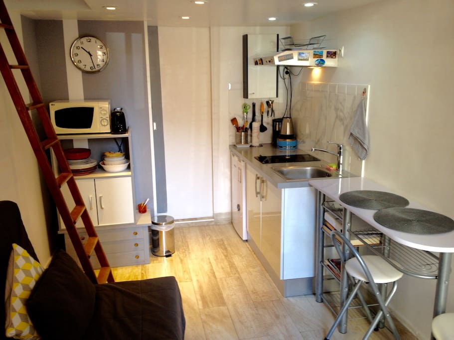 Here you see the studio, living space, kitchenette...