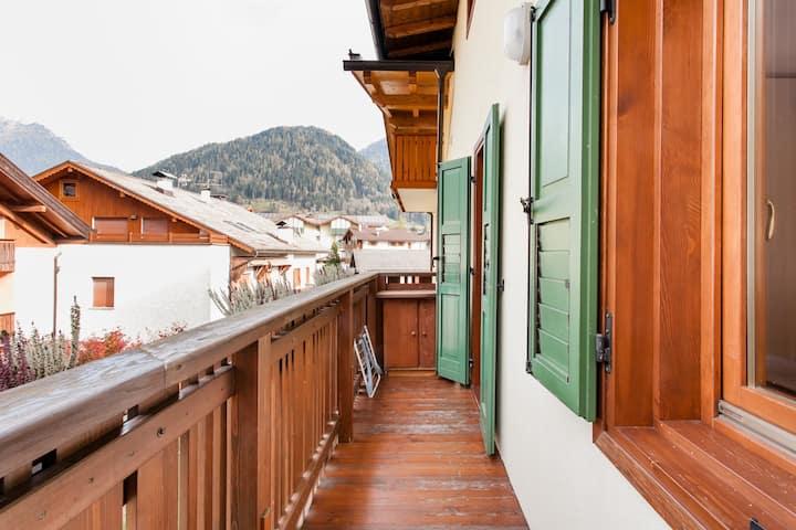 Caldo appartamento in stile baita con vista sulle Dolomiti