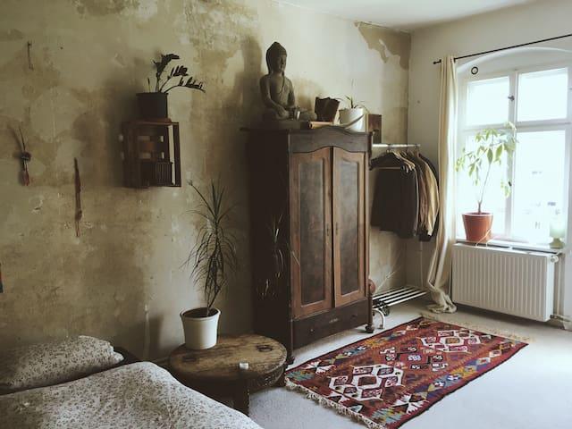 Spacious Bedroom in vintage styled Flat